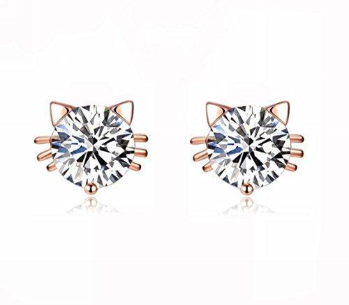 385358586a052 Birthday Gift 18k Gold Plated Austrian Swarovski Crystal Zircon Mini Cute  Cat Stud Earrings E151